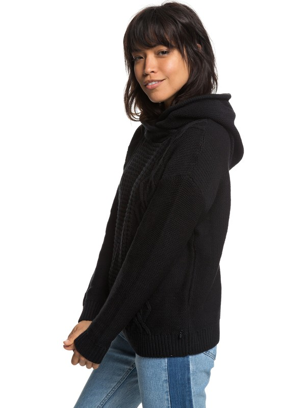0 Off To Dinner Knitted Hoodie Black ERJSW03275 Roxy