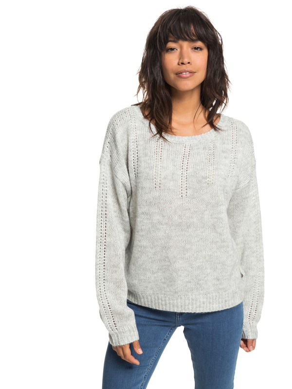 0 Sunny Street - Pull col rond pour Femme Gris ERJSW03285 Roxy
