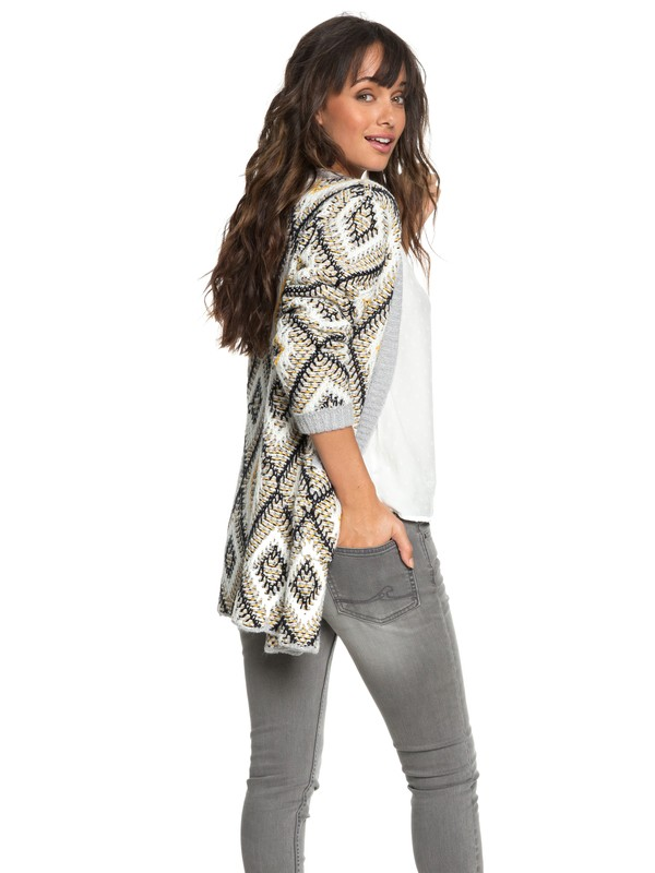 0 All Over Again Knitted Cardigan Grey ERJSW03291 Roxy