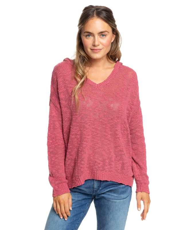 0 Sandy Bay Beach Knitted Hooded Poncho Pink ERJSW03297 Roxy