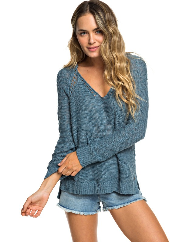 0 Airport Vibes Knitted Hoodie Blue ERJSW03312 Roxy
