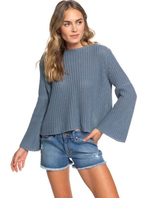 0 Boardwalk Show Wrap Back Sweater Blue ERJSW03314 Roxy