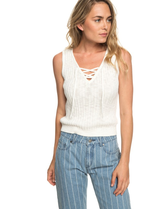 0 Grove Court Delight Knitted Tank Top White ERJSW03316 Roxy