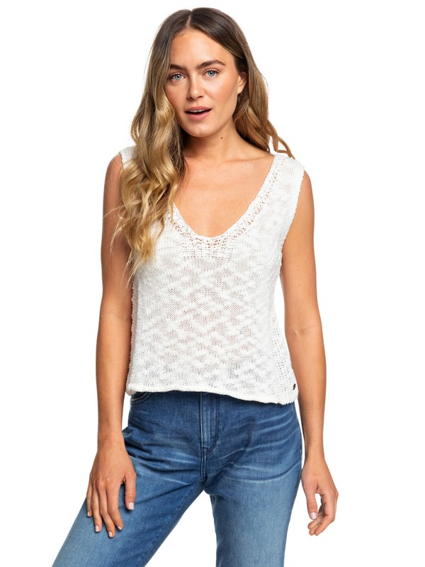 0 Blooming Season Knitted Tank Top White ERJSW03342 Roxy