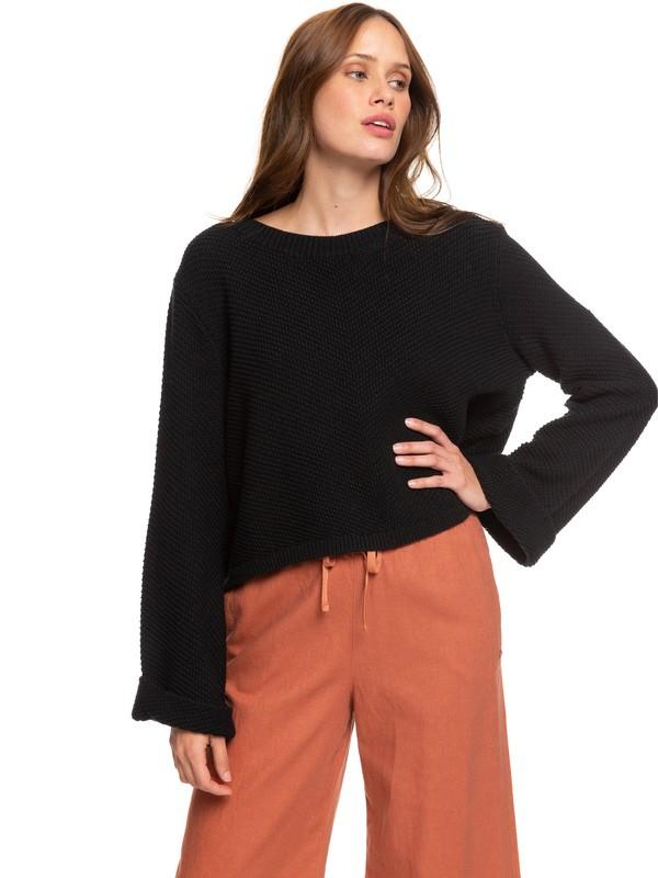 0 Sorrento Shades Flared Sleeve Sweater Black ERJSW03343 Roxy