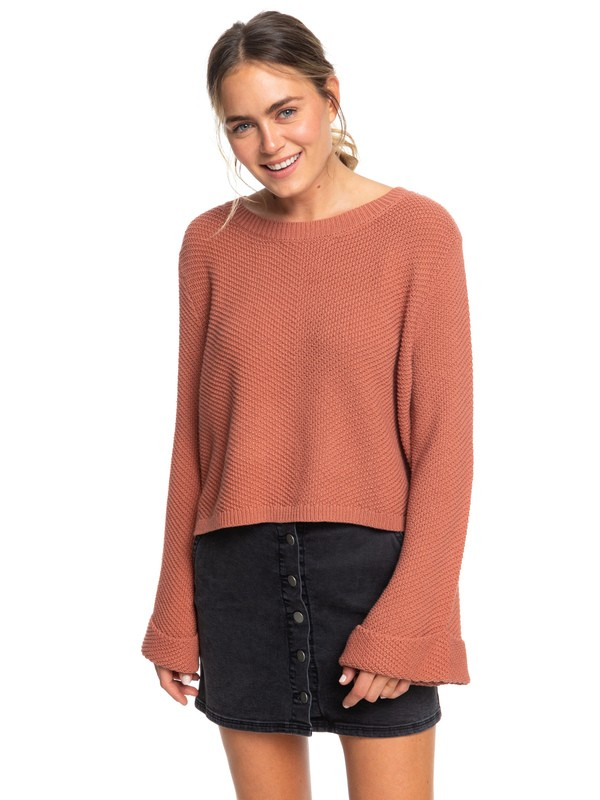 0 Sorrento Shades Flared Sleeve Sweater Pink ERJSW03343 Roxy