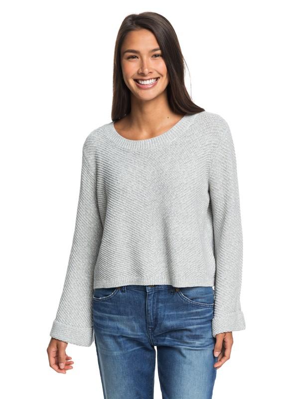 0 Sorrento Shades Flared Sleeve Sweater Grey ERJSW03343 Roxy