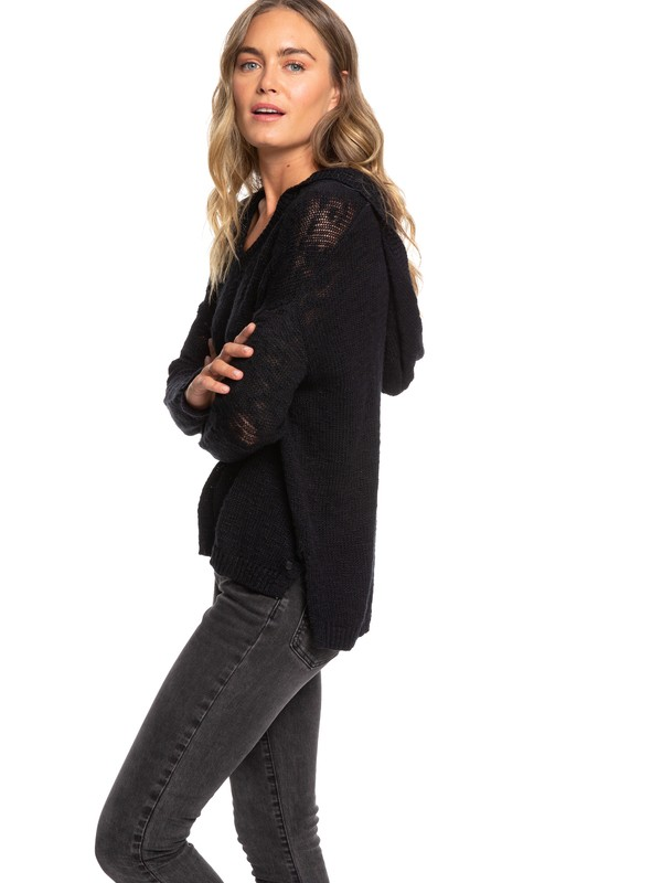 0 Lovely Soul Hooded Poncho Sweater Black ERJSW03363 Roxy