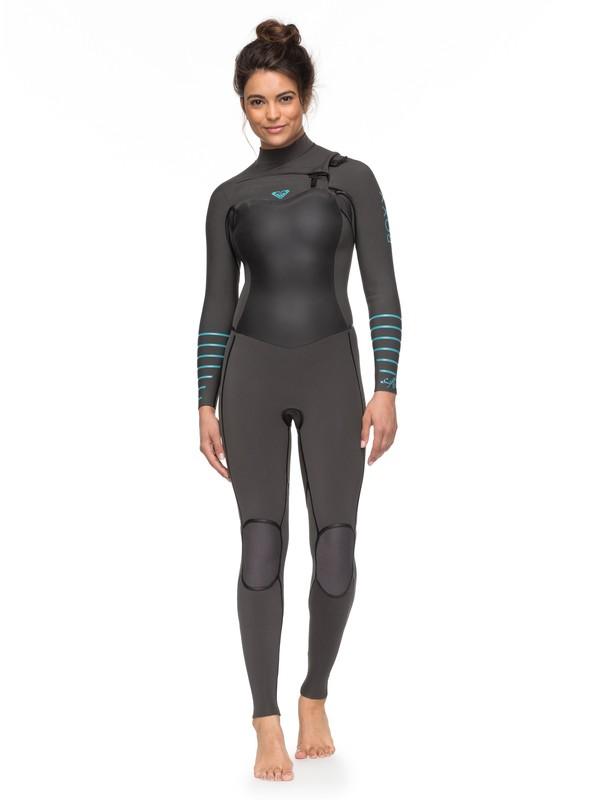 0 4/3mm Syncro Plus - Combinaison de surf zip poitrine pour Femme Gris ERJW103030 Roxy
