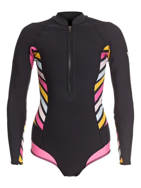 0 1mm POP Surf Long Sleeve Back Zip Bikini Cut Shorty Black ERJW403021 Roxy
