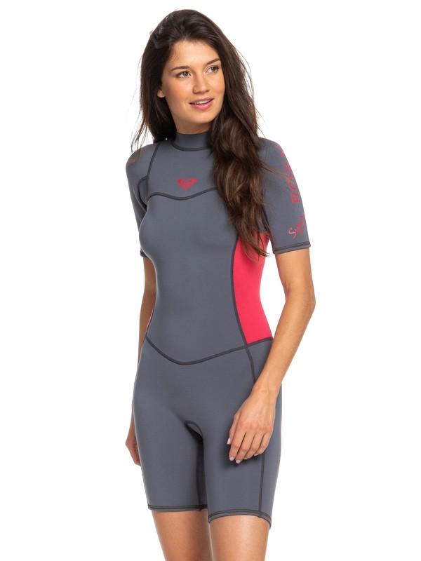 0 2/2mm Syncro Short Sleeve Back Zip FLT Springsuit Pink ERJW503007 Roxy