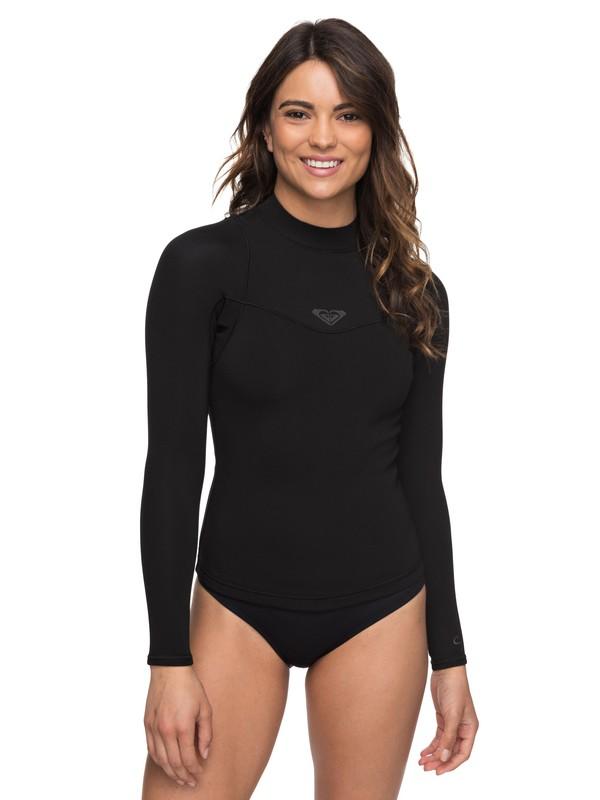 0 1mm Syncro Series Long Sleeve Wetsuit Top Black ERJW803008 Roxy