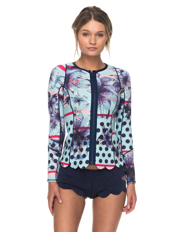 0 1mm POP Surf - Front Zip Scallop Wetsuit Jacket for Women Blue ERJW803012 Roxy