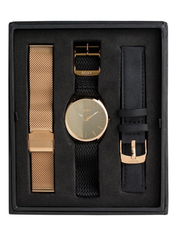 0 The Small Mirror Pack - Reloj Analógico para Mujer Amarillo ERJWA03021 Roxy