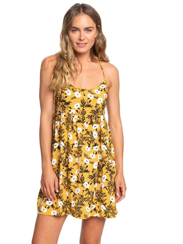 0 Tropical Sundance Strappy Dress Yellow ERJWD03194 Roxy
