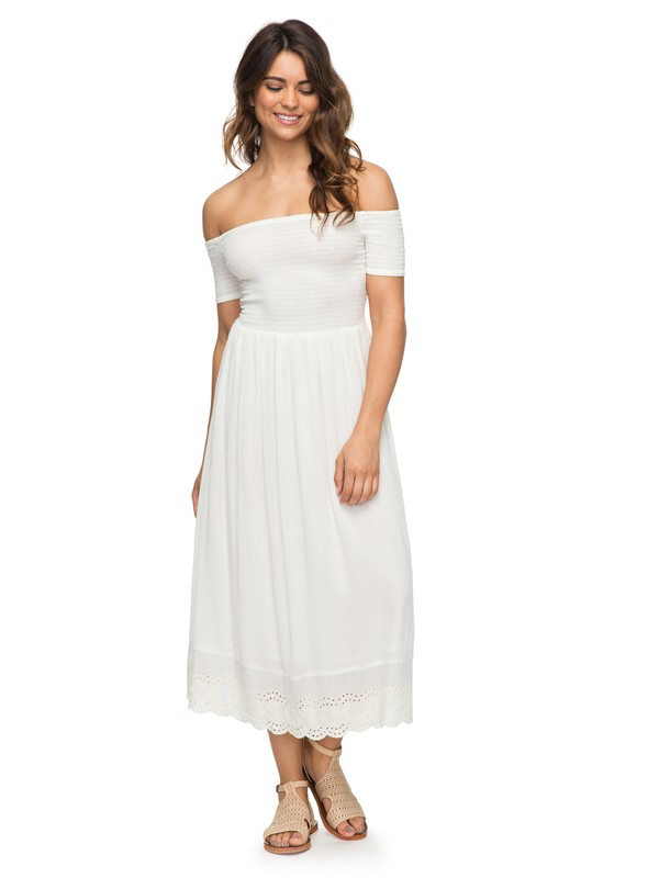 0 Pretty Lovers Off The Shoulder Midi Dress White ERJWD03209 Roxy