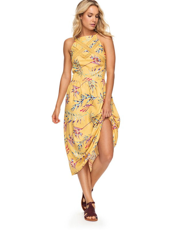 0 Summer Navajo Strappy Midi Dress Yellow ERJWD03231 Roxy