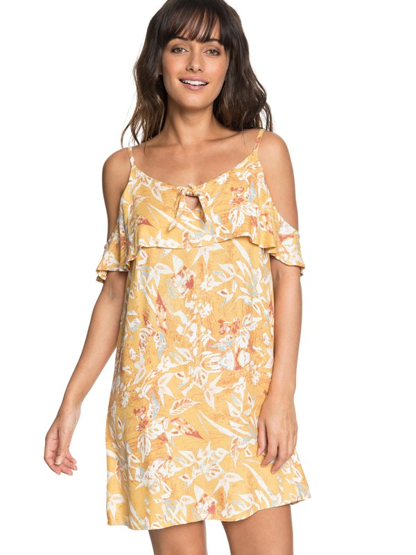 0 Still Waking Up Strappy Dress Yellow ERJWD03251 Roxy