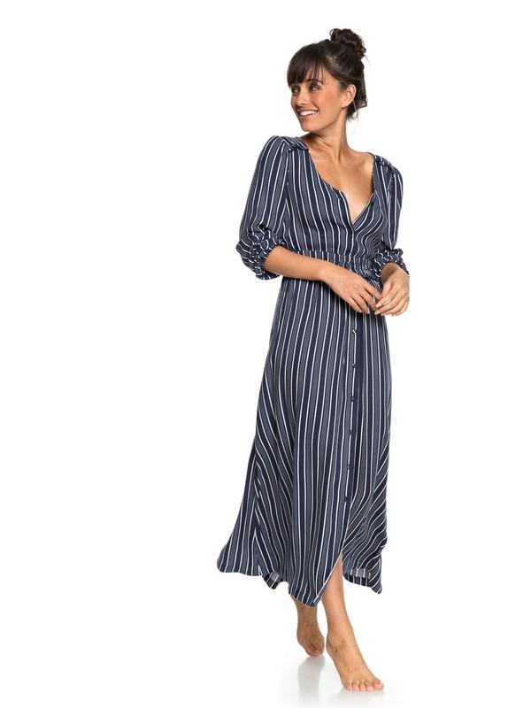0 Subway Atmosphere - Maxi jurk met lange mouwen voor Dames Blue ERJWD03259 Roxy