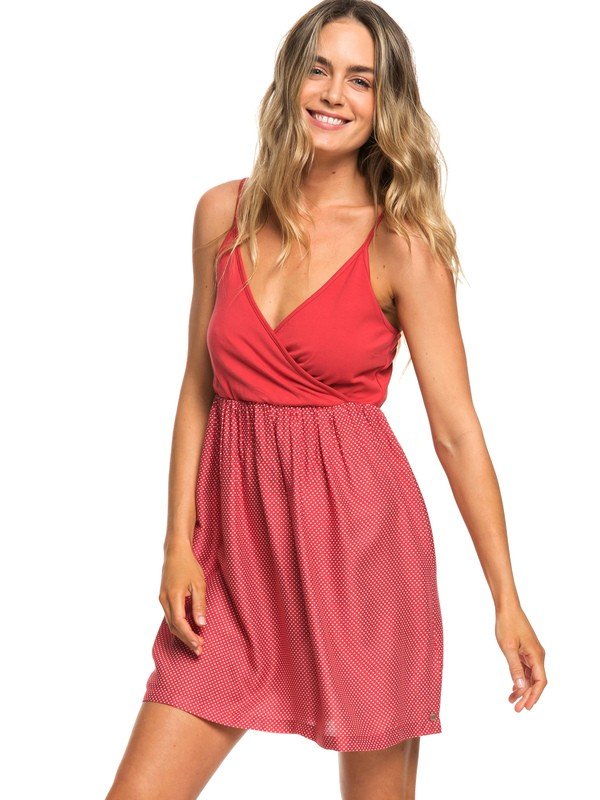 0 Floral Offering Strappy Dress Red ERJWD03271 Roxy