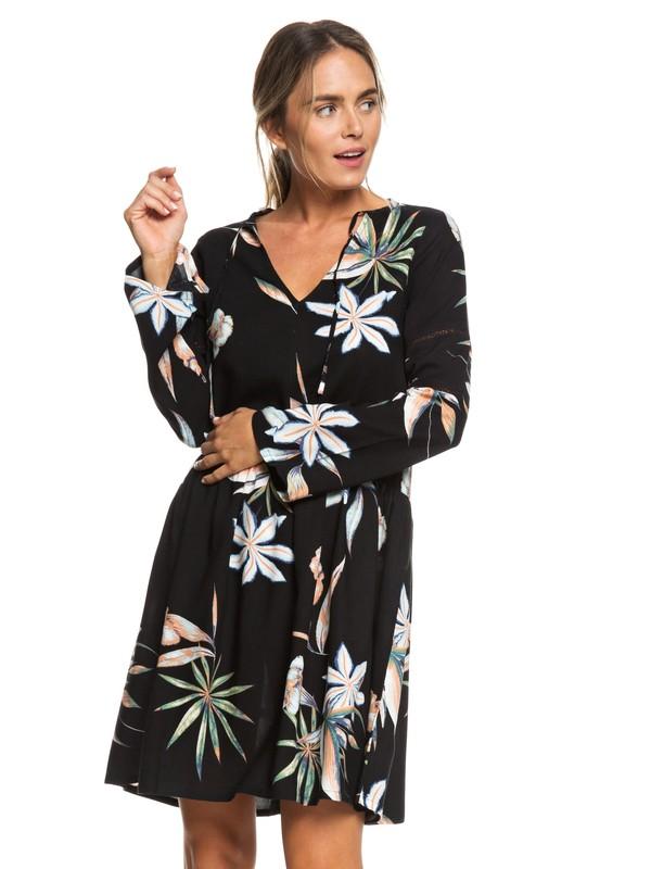0 Lombock Watefall Long Sleeve Dress Black ERJWD03277 Roxy