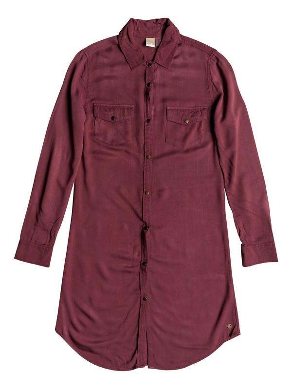 0 Tomini Bay View Long Sleeve Shirt Dress Red ERJWD03280 Roxy