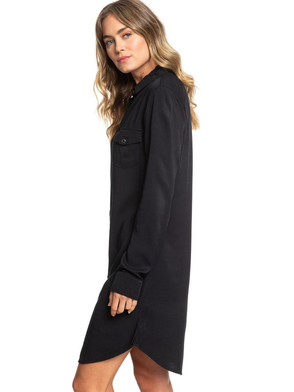 0 Tomini Bay View Long Sleeve Shirt Dress Black ERJWD03280 Roxy