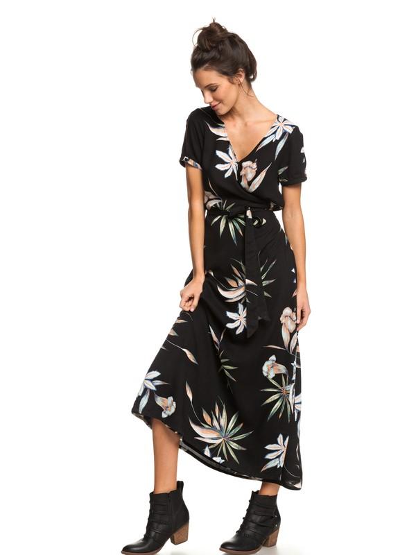 0 Lotus Heart Short Sleeve Maxi Dress Black ERJWD03287 Roxy
