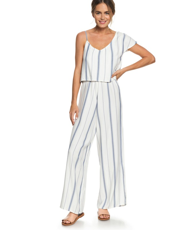 0 Komodo Exploring Stripe Cold Shoulder Culotte Jumpsuit White ERJWD03289 Roxy