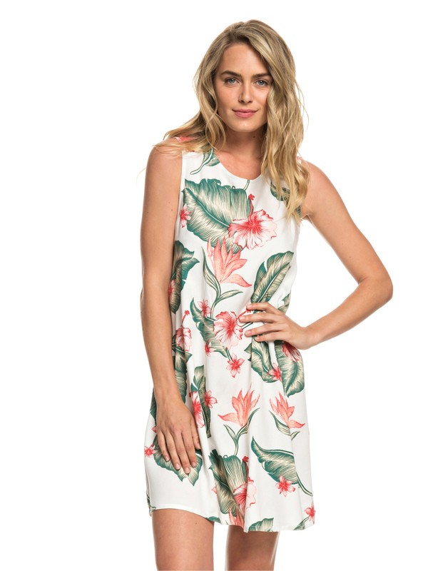 0 Harlem Vibes Sleeveless Dress White ERJWD03296 Roxy