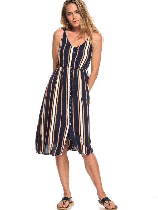 0 Sunset Beauty - Robe midi à bretelles pour Femme Bleu ERJWD03313 Roxy