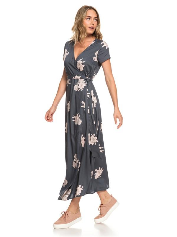 0 District Day - Robe longue manches courtes pour Femme Noir ERJWD03317 Roxy