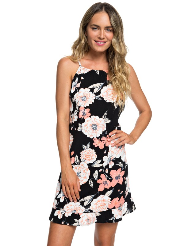 0 Golden Skin Ruffle Hem Strappy Dress Black ERJWD03324 Roxy