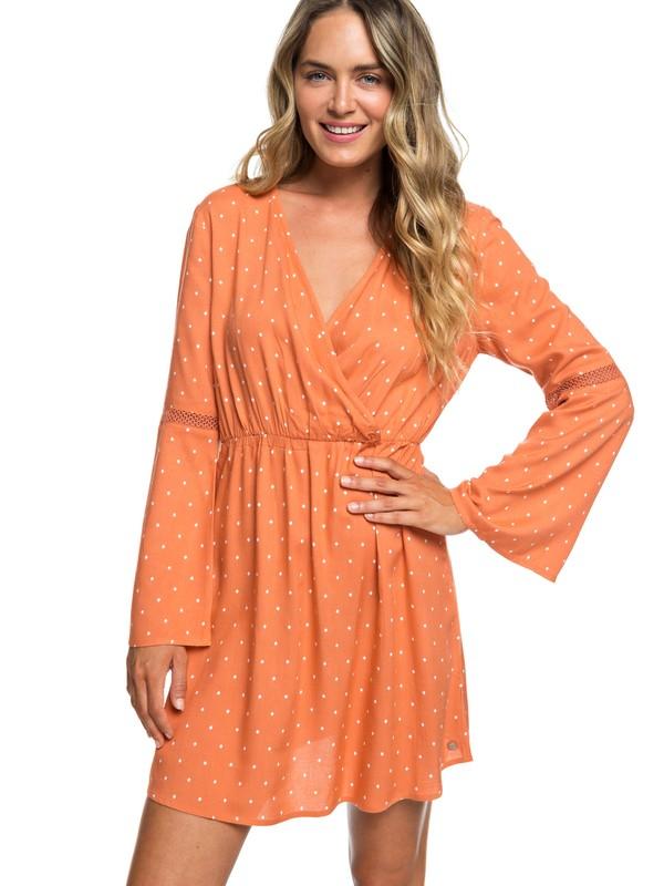 0 Crochet Heart Long Sleeve Dress Orange ERJWD03330 Roxy