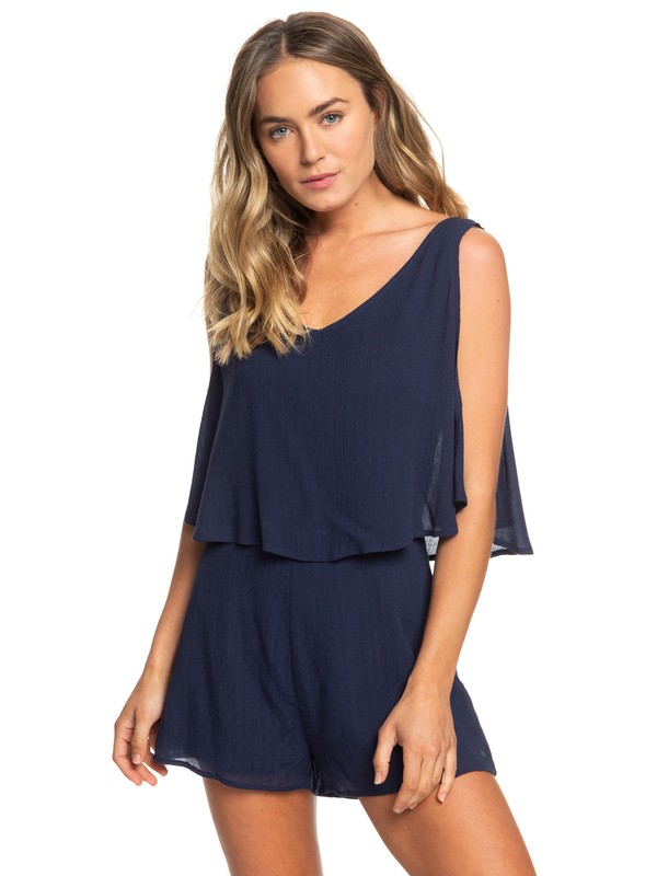 0 Festi Face Sleeveless Layered Romper Blue ERJWD03331 Roxy