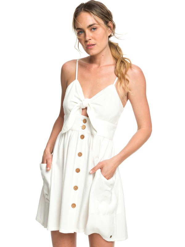 0 Under The Cali Sun Knot-Front Skater Dress White ERJWD03335 Roxy