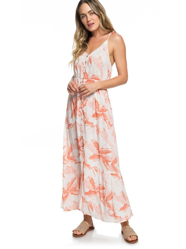 0 Hot Summer Lands Button-Through Strappy Maxi Dress White ERJWD03337 Roxy