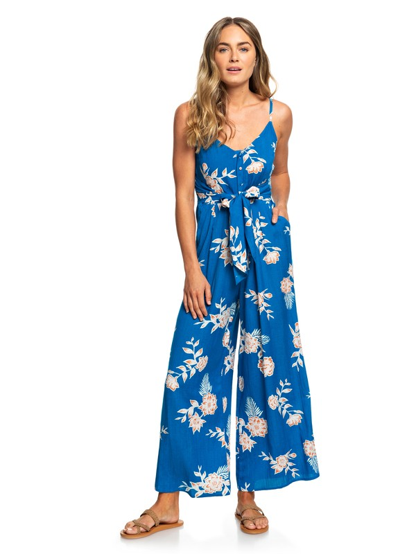 0 Wheel And Palms Strappy Wide-Leg Jumpsuit Blue ERJWD03338 Roxy