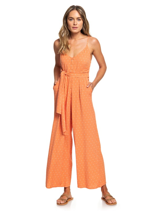 0 Wheel And Palms Strappy Wide-Leg Jumpsuit Orange ERJWD03338 Roxy