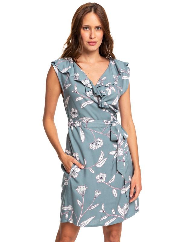 0 Rivello With You Sleeveless Wrap Dress Blue ERJWD03351 Roxy