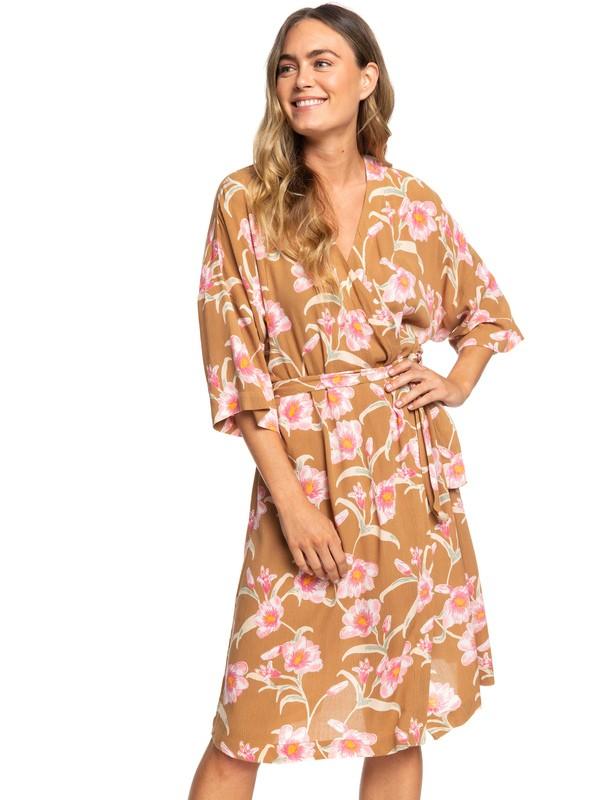 0 Privy Places Kimono Wrap Dress Brown ERJWD03363 Roxy