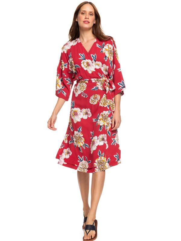 0 Privy Places Kimono Wrap Dress Red ERJWD03363 Roxy