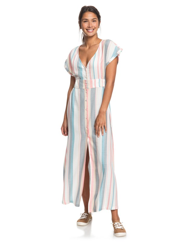 0 Furore Lagoon Short Sleeve Maxi Dress White ERJWD03372 Roxy