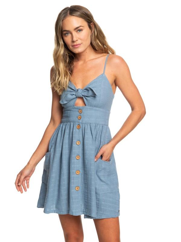 0 Under The Cali Sun Knot-Front Strappy Dress Blue ERJWD03376 Roxy