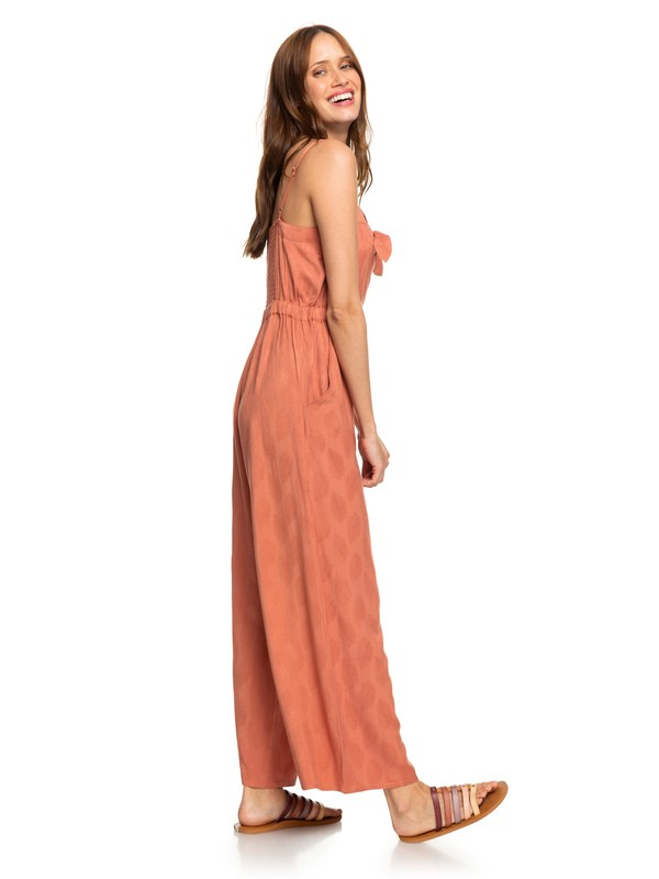 0 Feel The Retro Spirit Strappy Flared Jumpsuit Pink ERJWD03401 Roxy