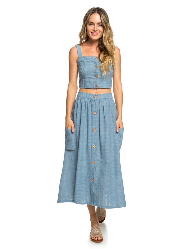 0 Feather Dance Midi Buttoned Skirt Blue ERJWK03062 Roxy