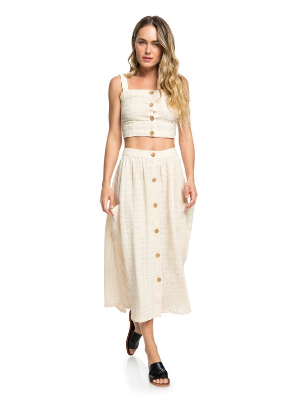 0 Feather Dance Midi Buttoned Skirt Beige ERJWK03062 Roxy