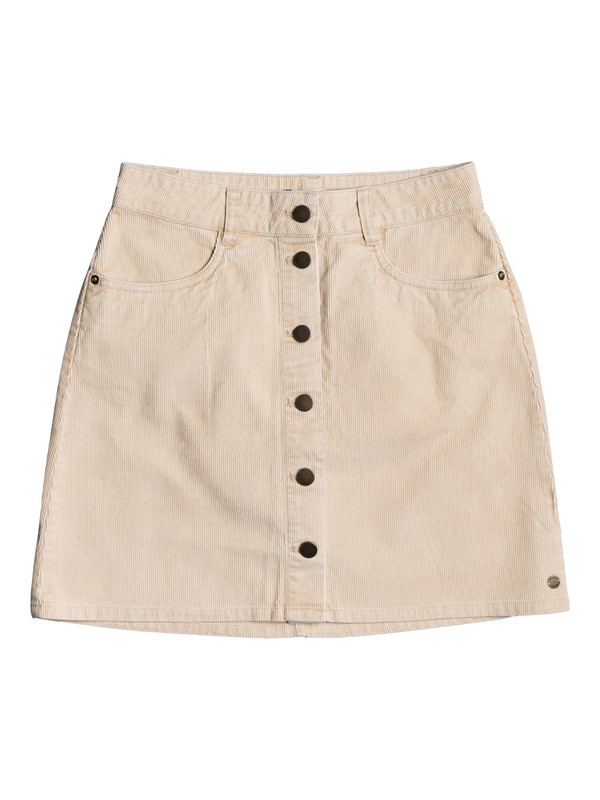 0 Unforgettable Fall Button Through Corduroy Skirt Beige ERJWK03069 Roxy