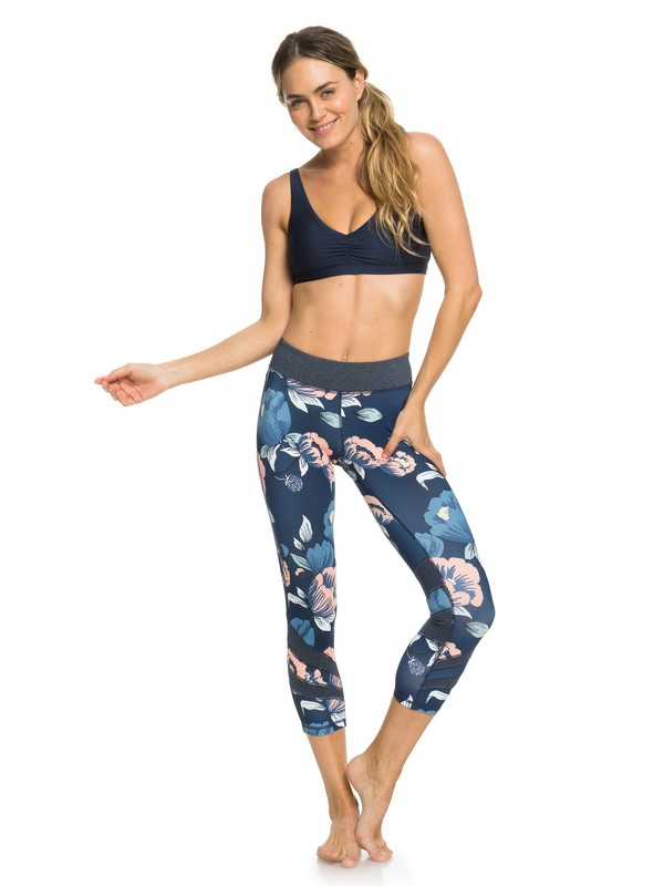 0 Explosive Feeling - Capri Workout Leggings for Women Blue ERJWP03023 Roxy