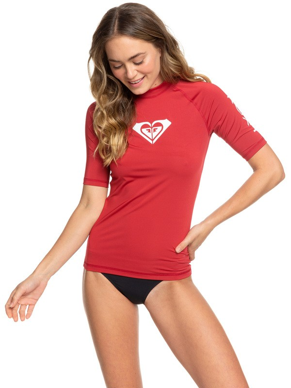 0 Whole Hearted Short Sleeve UPF 50 Rash Guard Red ERJWR03219 Roxy